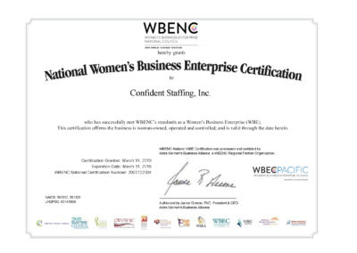 Certified Woman Business Enterprise (WBE)