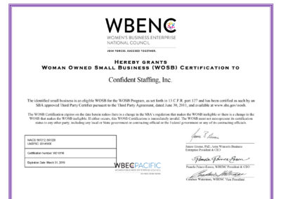 Certified Woman Owned Small Business (WOSB)
